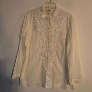 Talbots Women's Embroidered Blouse White Size L